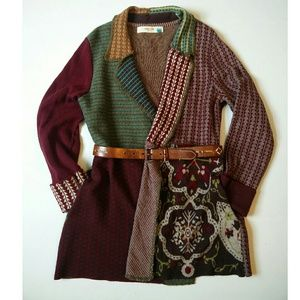 Anthro Sparrow patchwork open front cardigan L